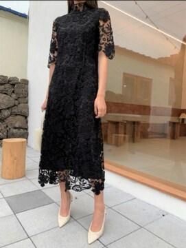 フラワーモックワンピースハイネックレースOPbirthdaybashドレス