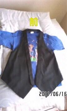 スーツ風デザイン襟付変形シルエットベスト