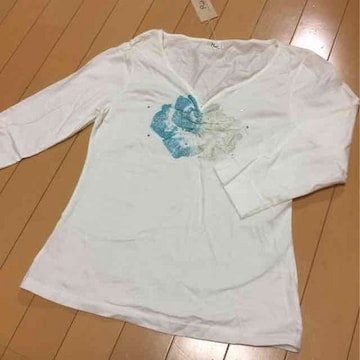 新品◆ラメローズ&ストーン◆七分袖カットソー◆L七分袖Tシャツ