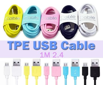 Micro USB スマートフォン 1m カラフル充電 ケーブル OD3.0