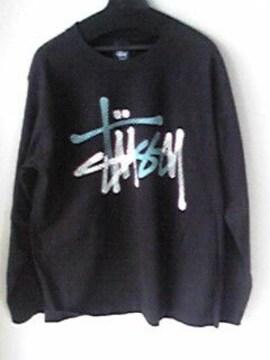 STUSSY黒色ロングTシャツ ステューシー ブラックロンT LサイズUSA アメリカ製 即決