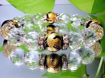 天然石金彫四神獣黒瑪瑙オニキス・64面カット水晶12ミリ数珠AAA