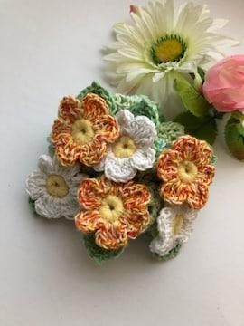 ハンドメイド ボリューム シュシュ コットン 野の花いっぱい♪