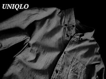 【UNIQLO】ユニクロ フランネルボタンダウンシャツ XL/Gray