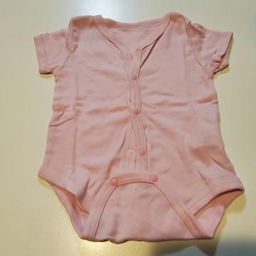 ピンク無地半袖ロンパース60