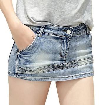 見た目はミニスカート★デニムショートパンツ(Mサイズ)
