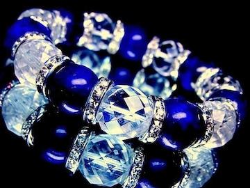 64面カット水晶§ラピスラズリ14ミリ銀ロンデル数珠