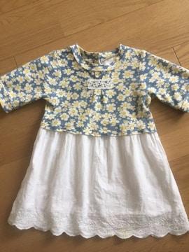 100☆美品コットン五分袖かわいい花柄コンビワンピース