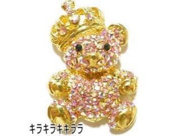 金属チャームゴージャス★王冠*BIG*くま(キラベア)ゴールドxピンクオーロラ