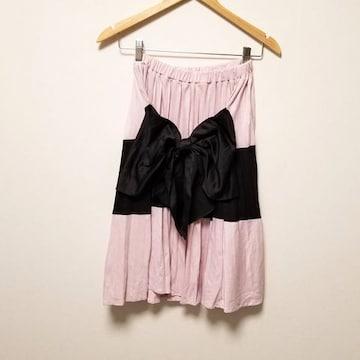 新品◆LIP SERVICE◆ピンク黒BIGリボン付プリーツスカート