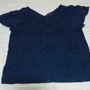 Studio CLIP紺色蓮の花刺繍半袖カットソー