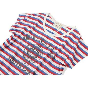 トリコロールボーダー フロッキープリントTシャツ
