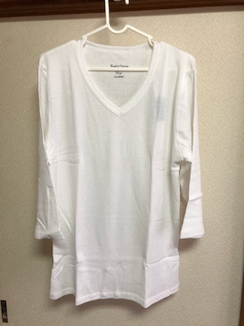 新品未使用タグ付きメンズリブ素材七分袖ロンTシャツホワイト系XLサイズ