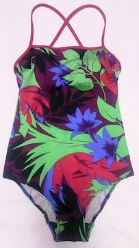 カラフル葉リーフ柄&レッドパイピング背中開きクロス肩紐キャミソールワンピース水着〓紫