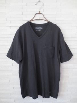 AZUL by moussy/半袖VネックメンズポケットTシャツ/黒/無地/L