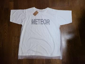 送料無料/大きいサイズ/チュール付きロゴ入りオフホワイトTシャツ4Lタグ付き