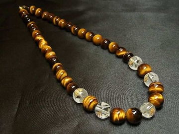 開運天然石数珠 守護梵字本水晶×虎目石タイガーアイネックレス