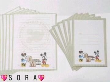 ディズニー【ミッキー&ミニー】可愛い♪封筒&便せんレターセット