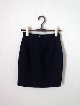 ビバユー◆ブラック 黒 タックベルト付き タイト スカート M