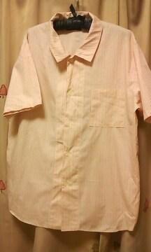 ピンク系ストライプ半袖シャツMカジュアル