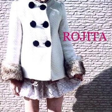 ROJITA ロジータ【美品】ノーカラーファーコート Whiteホワイト