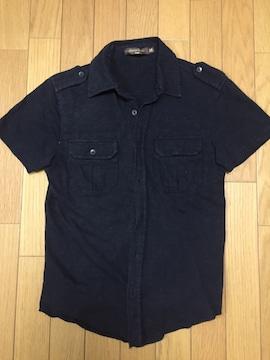 メンズ ミリタリー半袖シャツ ブラック Mサイズ