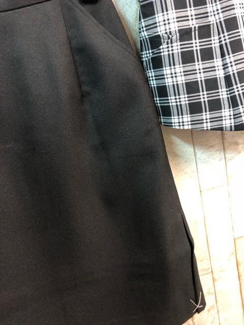 新品☆5号お仕事ベストスーツ楽ちんタイト黒チェック☆n281 < 女性ファッションの