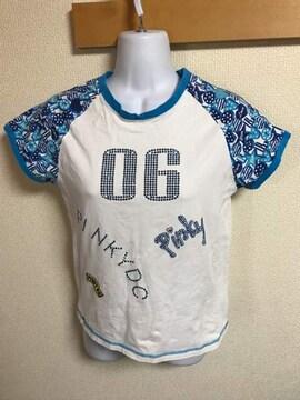 ★PINKY D.crush 白&ブルー ラメ入ラグランTシャツ  160★