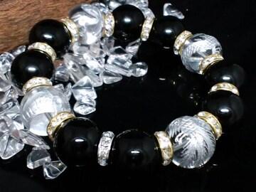 銀四神獣水晶16ミリ§オニキス16ミリ§金ロンデル数珠