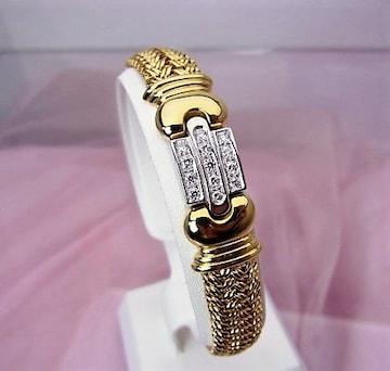送無 K18YG 750 ダイヤモンド ゴージャス ブレスレット 18cm 仕上済★dot