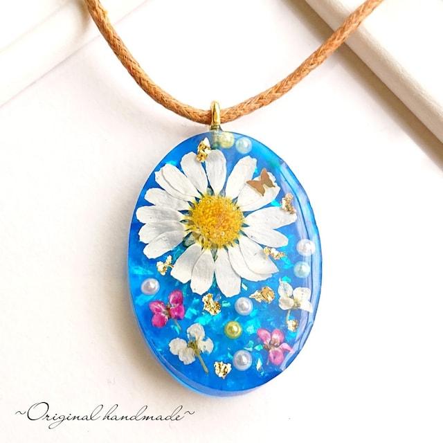Handmade☆レジン ブルー お花のネックレス☆