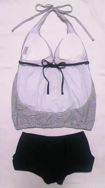 新品〓ボーダー柄ホルターリボン三角ビキニ背中開きタンキニトップスボクサーパンツ水着 < 女性ファッションの