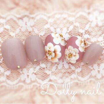 みぢょ!チビ爪ベリショ大人可愛いグレージュ秋色スモーキーピンクお花ネイル