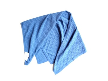 新品 ノースオブジェクト 綿 ニット ストール ブルー 青