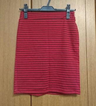 イング/INGNI/ボーダースカート/赤レッド/M/タイトスカート