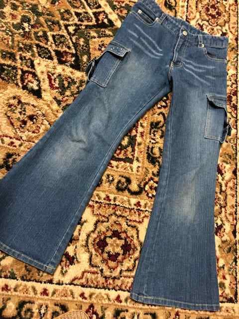 キッズ ワイドジーンズ ブーツカット スパンコール可愛い125.130  < キッズ/ベビーの