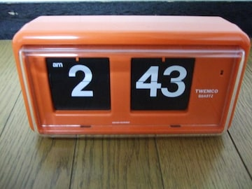 TWEMCO QUARTZ 置時計 オレンジクロック QT-30 おしゃれ時計