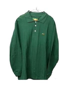 新品ビッグシルエット着回し抜群★ロングポロシャツMグリーン