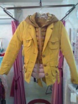 黄色ジャケットインナーダウンコート3ウェ イ便利秋冬春用M