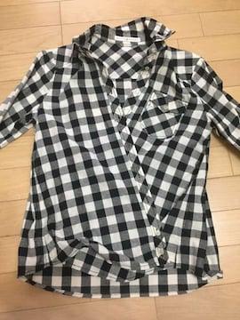 CHILD WOMAN 2way 黒×白チェック柄長袖シャツ