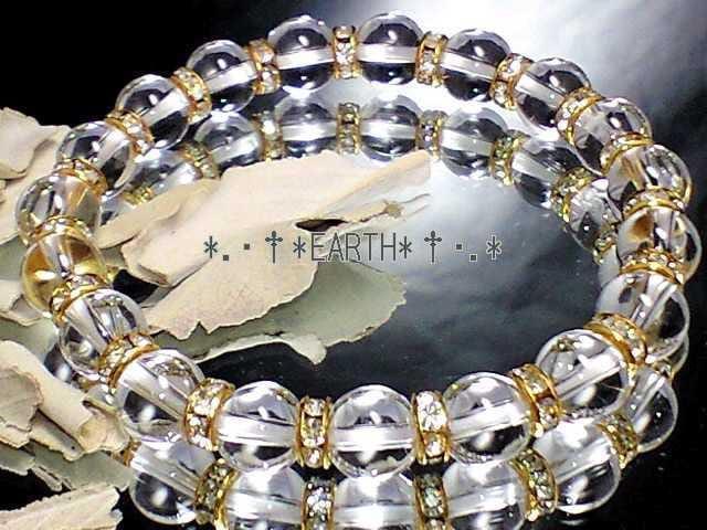天然石★8ミリ高級天然水晶AAAクリスタル&金色ロンデル数珠 < 女性アクセサリー/時計の
