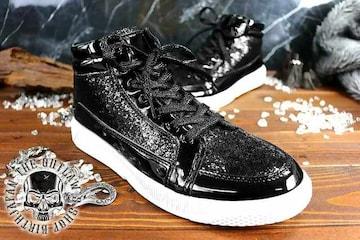 送料込 ラメ ハイカット スニーカー 靴 メンズ シューズ 厚底 オラオラ ダンス 107黒25.5