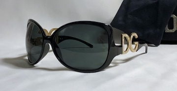 正規美レア ドルチェ&ガッバーナ DGストーンロゴサングラス 黒×金 付属有 ドルガバ