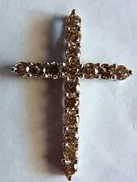 k18金ダイヤ ペンダント1.00ctクロスWGホワイトゴールド27mm