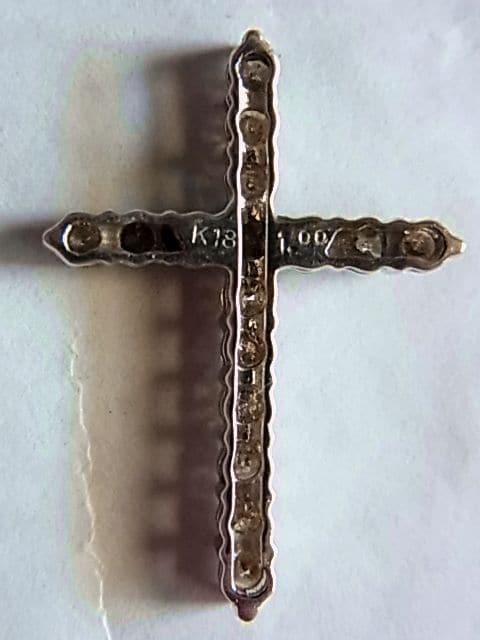 k18金ダイヤ ペンダント1.00ctクロスWGホワイトゴールド27mm < 男性アクセサリー/時計の