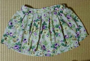 ベージュ 紫緑花柄 ボタニカル柄 ミニキュロットスカート