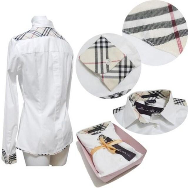 新品Gaia Boldettiイタリア製チェックシャツブラウス白#40#42 < 女性ファッションの