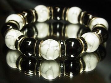 健康運招来!!ホワイトターコイズ×ブラックオニキス数珠ブレスレット