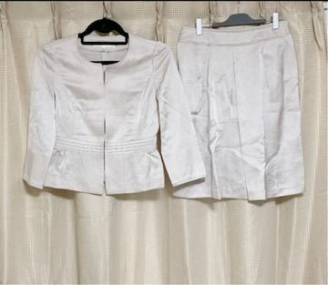 ANAYI アナイ 麻 ノーカラー スカートスーツ