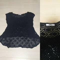 GRL 鍵編み 半袖 カットソー ブラック M